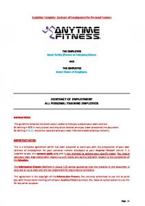 CONTRACT OF EMPLOYMENT ALL PERSONAL TRAINING EMPLOYEES