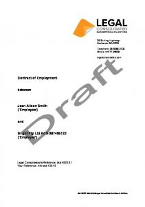 Contract of Employment. between. Joan Alison Smith ( Employee ) and. Bright Pty Ltd ACN ( Employer )