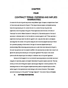 CONTRACT TERMS: EXPRESS AND IMPLIED WARRANTIES
