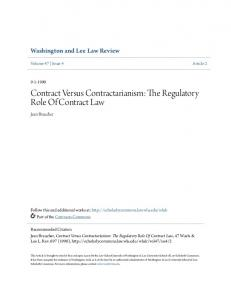 Contract Versus Contractarianism: The Regulatory Role Of Contract Law