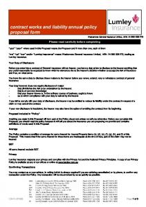 contract works and liability annual policy proposal form