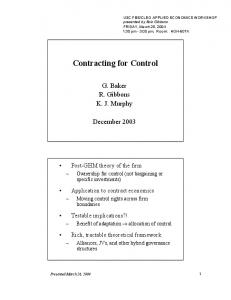 Contracting for Control