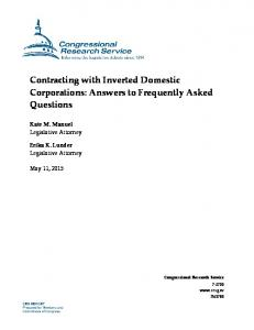 Contracting with Inverted Domestic Corporations: Answers to Frequently Asked Questions