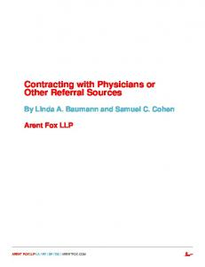 Contracting with Physicians or Other Referral Sources