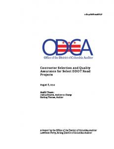 Contractor Selection and Quality Assurance for Select DDOT Road Projects