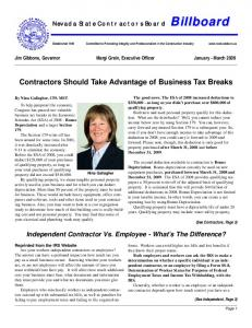 Contractors Should Take Advantage of Business Tax Breaks