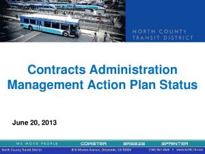 Contracts Administration Management Action Plan Status. June 20, 2013