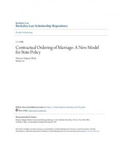 Contractual Ordering of Marriage: A New Model for State Policy