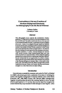 Contradictory Literacy Practices of Mexican-Background Students: An Ethnography From the Rural Midwest