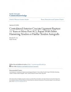 Contralateral Anterior Cruciate Ligament Rupture 11 Years or More Post ACL Repair With Either Hamstring Tendon or Patellar Tendon Autografts