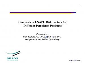 Contrasts in LNAPL Risk Factors for Different Petroleum Products