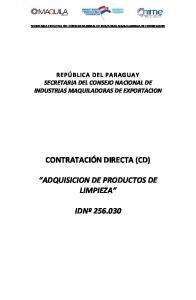 CONTRATACIÓN DIRECTA (CD) ADQUISICION DE PRODUCTOS DE LIMPIEZA IDNº