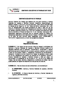 CONTRATO COLECTIVO DE TRABAJO CONTRATO COLECTIVO DE TRABAJO