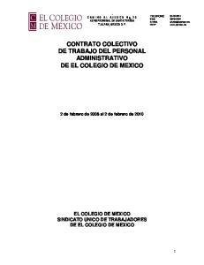 CONTRATO COLECTIVO DE TRABAJO DEL PERSONAL ADMINISTRATIVO DE EL COLEGIO DE MEXICO