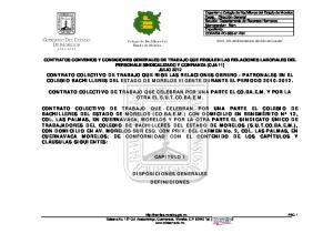 CONTRATO COLECTIVO DE TRABAJO QUE CELEBRAN POR UNA PARTE EL CO.BA.E.M. Y POR LA OTRA EL S.U.T.CO.BA.E.M