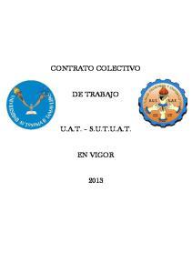 CONTRATO COLECTIVO DE TRABAJO U.A.T. S.U.T.U.A.T. EN VIGOR