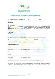 Contrato de Admisión en Residencia