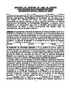 CONTRATO DE APERTURA DE LINEA DE CREDITO PARA ESTUDIANTES DE EDUCACION SUPERIOR, CON GARANTIA ESTATAL, SEGUN LEY