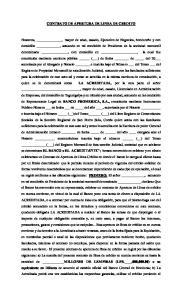 CONTRATO DE APERTURA DE LINEA DE CREDITO