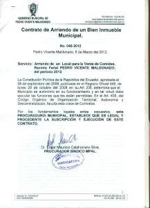 Contrato de Arriendo de un Bien Inmueble Municipal
