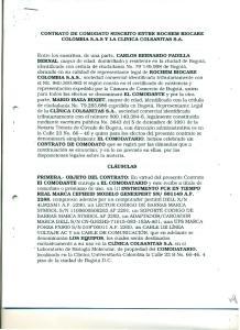 CONTRATO DE COMODATO SUSCRITO ENTRE ROCHEM BIOCARE COLOMBIA S.A.S y LA CLINICA COLSANITAS S.A