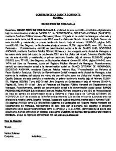 CONTRATO DE LA CUENTA CORRIENTE NORMAL BANCO FICOHSA NICARAGUA