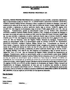 CONTRATO DE LA CUENTA DE AHORRO MILLONARIA BANCO FICOHSA NICARAGUA S.A