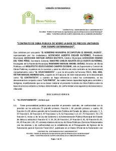 CONTRATO DE OBRA PUBLICA DE SOBRE LA BASE DE PRECIOS UNITARIOS POR TIEMPO DETERMINADO