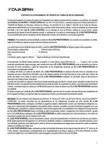 CONTRATO DE OTORGAMIENTO DE CREDITO EN FORMA DE MUTUO DINERARIO