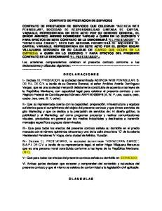 CONTRATO DE PRESTACION DE SERVICIOS CONTRATO DE PRESTACION DE SERVICIOS QUE CELEBRAN