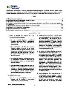 CONTRATO DE PRODUCTOS Y SERVICIOS BANCARIOS Y FINANCIEROS QUE CELEBRAN, POR UNA PARTE, BANCO FINTERRA, S.A