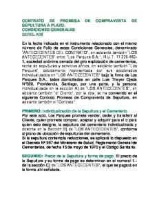 CONTRATO DE PROMESA DE COMPRAVENTA DE SEPULTURA A PLAZO. CONDICIONES GENERALES SERIE: A06