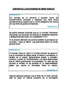 CONTRATO LLAVE EN MANO DE OBRA PUBLICA