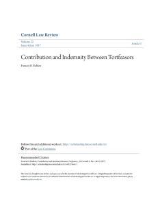 Contribution and Indemnity Between Tortfeasors