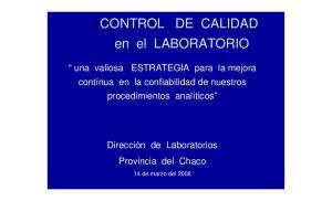 CONTROL DE CALIDAD en el LABORATORIO