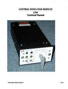 CONTROL INDICATOR MODULE CIM Technical Manual