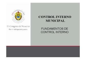 CONTROL INTERNO MUNICIPAL FUNDAMENTOS DE CONTROL INTERNO