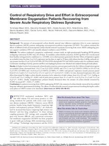Control of Respiratory Drive and Effort in Extracorporeal Membrane Oxygenation Patients Recovering from Severe Acute Respiratory Distress Syndrome