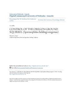 CONTROL OF THE OREGON GROUND SQUIRREL (Spermophilus beldingi oregonus)