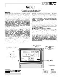 Control Panel. for Snow & Ice Melting Installations Installation & Operation Instructions