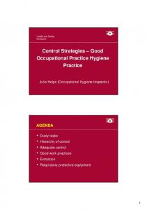 Control Strategies Good Occupational Practice Hygiene Practice