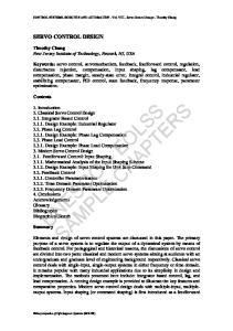 CONTROL SYSTEMS, ROBOTICS AND AUTOMATION - Vol. VIII - Servo Control Design - Timothy Chang