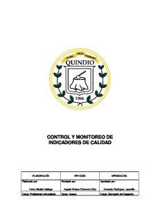 CONTROL Y MONITOREO DE INDICADORES DE CALIDAD