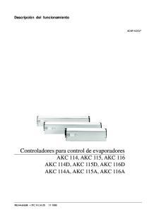 Controladores para control de evaporadores AKC 114, AKC 115, AKC 116 AKC 114D, AKC 115D, AKC 116D AKC 114A, AKC 115A, AKC 116A