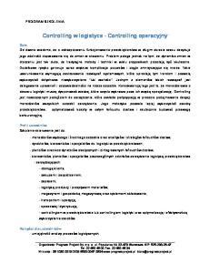 Controlling w logistyce - Controlling operacyjny