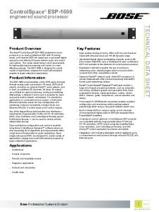 ControlSpace ESP-1600 TECHNICAL DATA SHEET. engineered sound processor. Product Overview. Key Features. Product Information