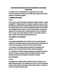 CONVENCION INTERAMERICANA SOBRE CUMPLIMIENTO DE MEDIDAS CAUTELARES