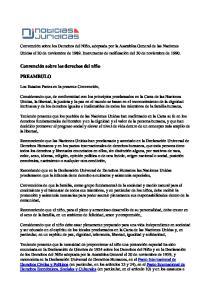 Convención sobre los derechos del niño PREAMBULO