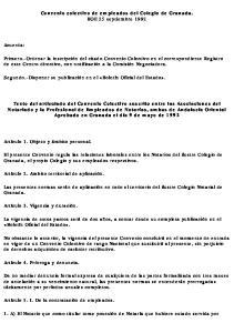 Convenio colectivo de empleados del Colegio de Granada. BOE 25 septiembre 1992
