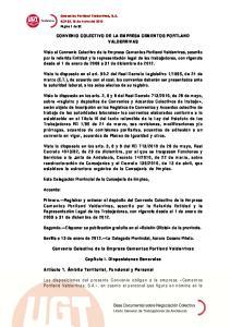 CONVENIO COLECTIVO DE LA EMPRESA CEMENTOS PORTLAND VALDERRIVAS